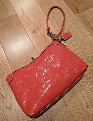 Coach Signature Turnlock Wristlet shiny salmon/pink/orange ConvertibleStrap $198