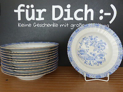 Seltmann Weiden Chinablau Suppenteller tiefer Teller china blau gold 23 cm