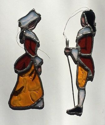 """Vintage Leaded Stained Glass Suncatchers 2 Colonial Figures  5 1/2"""" & 6"""" Tall"""
