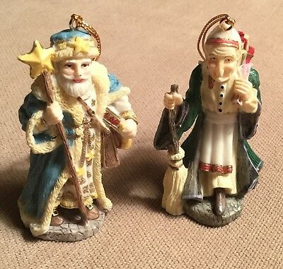 2 Vintage International Santa Claus Collection- La Befana- Star Man- Ornaments