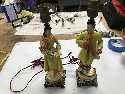 Vintage Spanish French Style Pair Enameled Lamps Gold Metallic Trimmed