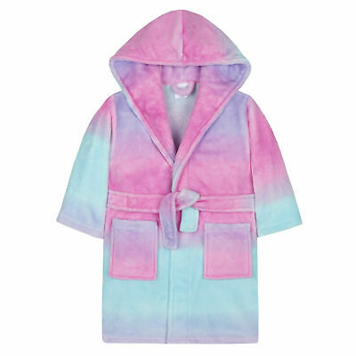 Infant Girls Sherbet Ombre Dressing Gown Robe Plush Fleece Colourful Kids Soft