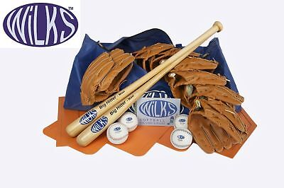 Wilks Softball Senior Teambuilder Set, Bats, Balls, Gloves, Bases, Rules, Bag