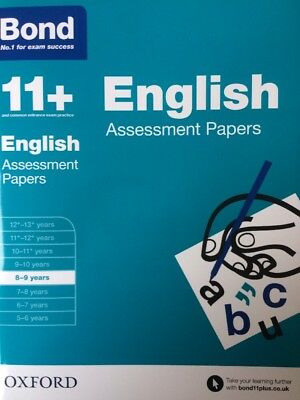 Bond 11+ Plus English Assessment Papers Age 8-9 Years Book 1 No.1 Exam Success