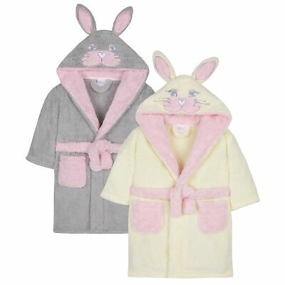 Girls Bunny Rabbit Dressing Gown Robe Snuggle Fleece Soft Animal Novelty Hooded