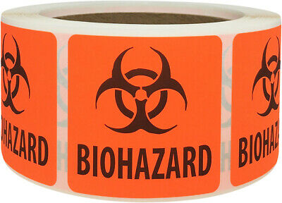 Biohazard Safety Warning Labels 2 x 2 Inch Squares 500 Adhesive Stickers