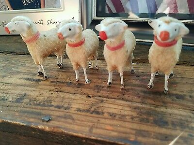 "4 Antique Vintage German Putz Sheep Lot 2.5"" Tall Wood Stick Legs Woolly Old"