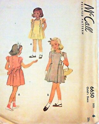 McCall Pattern #6650 for Child's Dress Size 6 ©1946 Complete