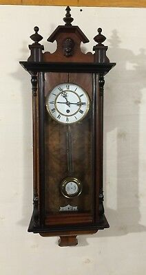 Very Nice Slim Antique German Regulator 1900 Working 8 Day Time Only!