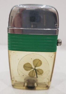 Vintage Working  Scripto VU Lighter, Lucky Four Leaf Clover with Green Band