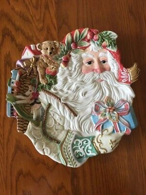 "Christmas Santa Plate, 10 1/2"" x 10 1/4"", Fitz and Floyd, Enchanted Holiday"
