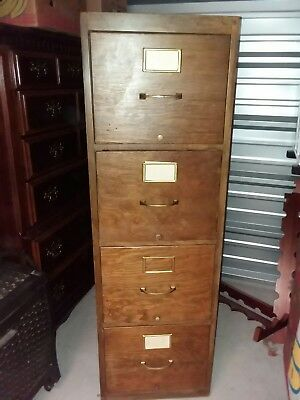Antique Solid Wood 4 Drawer Cabinet - Good Condition - Holds New Metal Frames