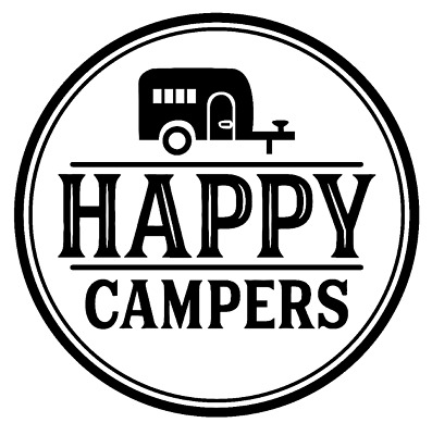 Happy Campers Vinyl Decal Sticker Camper Travel Trailer Home Wall Cup Decor