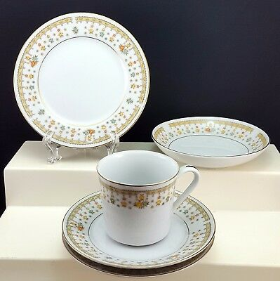 Fine China of Japan Garden Bouquet Cake Plate Berry Bowl Cup and 2 Saucers