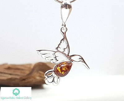 NATURAL BALTIC AMBER STERLING SILVER 925 Hummingbird PENDANT CHAIN NECKLACE