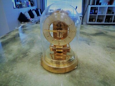 Vintage Kundo Kieninger Obergfell Brass Mantel Clock West Germany Glass Dome