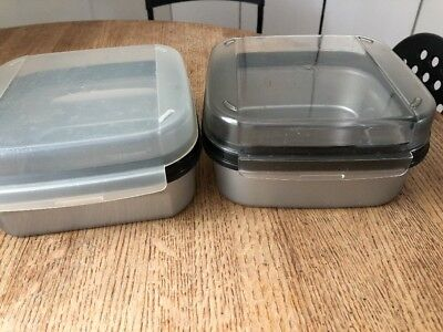 2 Tupperware Square Modular Mates STORZ A LOT Silver Canisters Lot #1 5 Cups