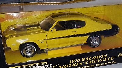 1/18 ERTL 1970 CHEVROLET BALDWIN MOTION CHEVELLE YELLOW with BLACK rd