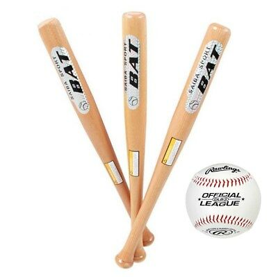 BodyRip Solid Wood Wooden Baseball Bat 25 29 33 Inch Rounders with Soft Ball