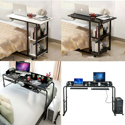 Home Rolling Adjustable Computer Desk Table Over Bed Laptop Storage Furniture UK