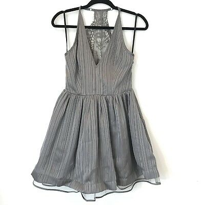 Bebe Women Size 4 Lace Back Metallic Gray Stripe Flare Dress Party Wedding New