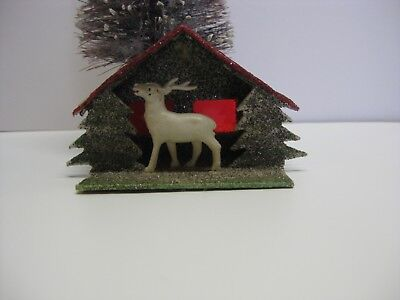 Vintage Putz Christmas House with Reindeer and Stained Glass, Japan
