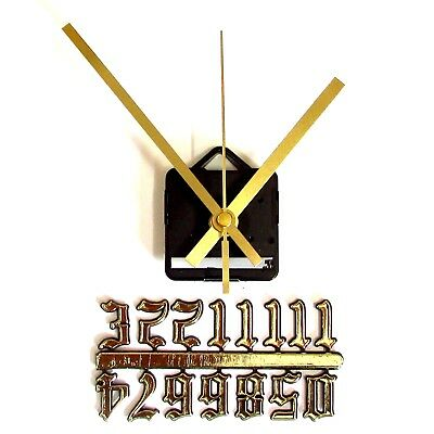 Silent Quartz Clock Making Kit - 23mm Gold Old English Numbers 119mm Gold Hands