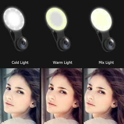 3 in 1 Mobile Phone Clip-On 3 Modes LED Selfie Flash Light Wide Angle Macro Lens