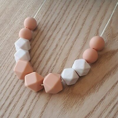 Silicone Sensory Necklace (was Teething) Peach Beads Handmade Gift For Mum