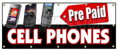 PREPAID CELL PHONES BANNER SIGN calling cards disposable long distance pre-paid