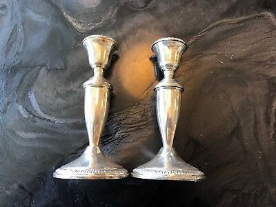 """Crown Sterling Silver Candlesticks 7"""" Pair"""