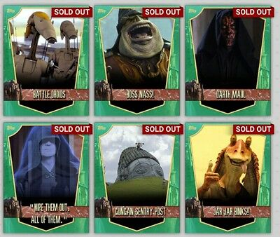 Topps Star Wars Card Trader Naboo Locations Green Set With Award