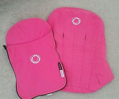 Bugaboo cameleon pink fleece fabric set Hood, apron and seat cover @#