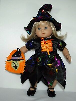 """Halloween costume dress hat shoes bag for 15"""" American Girl Bitty Baby doll"""