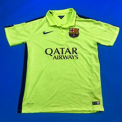 promo code 5dcbb 34b12 NIKE FC BARCELONA Authentic Jersey FCB 2014 Men's Medium Dri-Fit Neon