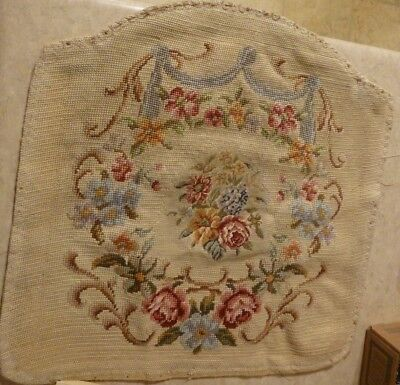 Vintage Petti Point & Needlepoint Seat Cushion Top from Paris