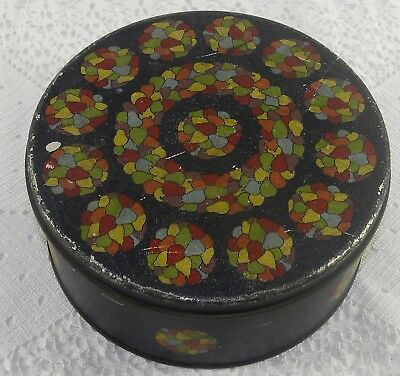 Unique Antique ARTS CRAFTS Biscuit Cookie Candy TIN Colorful STAINED GLASS PEARS
