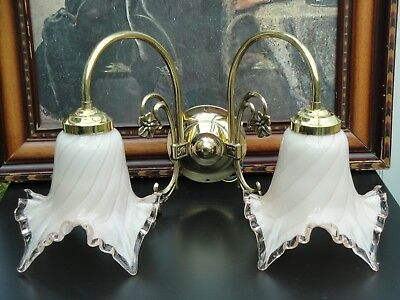 Stunning Pair of Vintage Brass Wall Lights with Hand Crafted Murano Glass shades