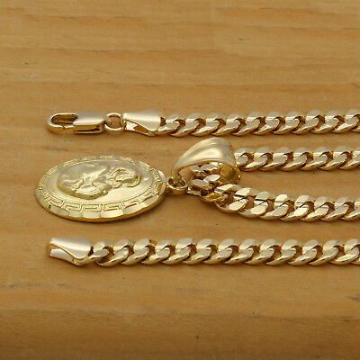 """18k Gold Plated  Mother Virgin Mary/Sun Pendant 5mm 24"""" Cuban Necklace Chain"""
