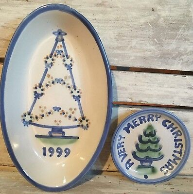 MA Hadley Christmas Tree Small Plate And 1999 Oval Dish Lot