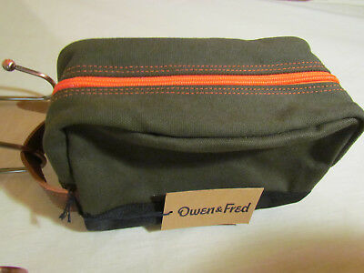 New Mens Owen & Fred Made In Usa Canvas Top Zip Toiletry Travel Bag $68 Deal