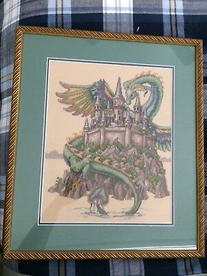 Teresa Wentzler Completed Cross Stitch The Castle unframed with Mount boards