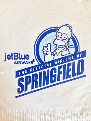 JetBlue Simpsons Promotional Napkin Official Airline Of Springfield New Mint