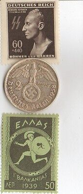 ****Antique  WWII  -  *greek   stamp  + wwii   *german Silver coin and stamp