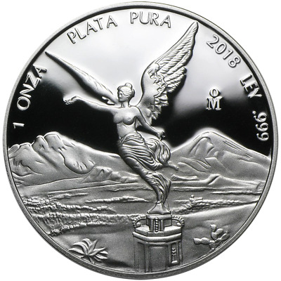 2018 Proof Silver Mexican Libertad Onza 1 oz in Cap