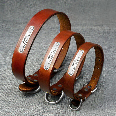 Brown Custom Dog Collar Leather Engraved Pet ID Name Plate Heavy Duty Buckle