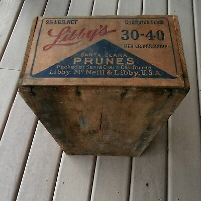 Vintage Wooden Libby's Prunes Box Old Wood Collectible California Fruit Crate