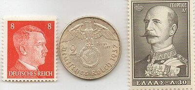 -*WWII  - *german Silver  Eagle  coin and  Stamp  + *greek  STAMP