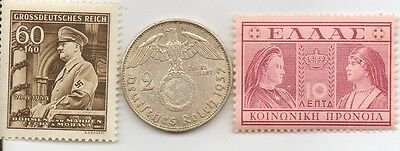 -antique *GREEK   Stamp + *WWII  - *german Silver  Eagle  coin and  Stamp