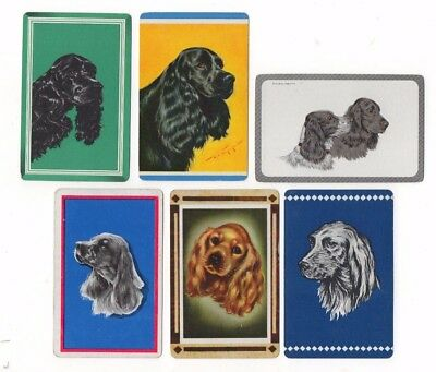 Lot of 6 Vintage Playing Cards ~ Spaniels ~ Dogs ~ 2 Blank Swaps